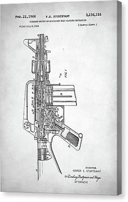 Canvas Print featuring the digital art M-16 Rifle Patent by Taylan Apukovska