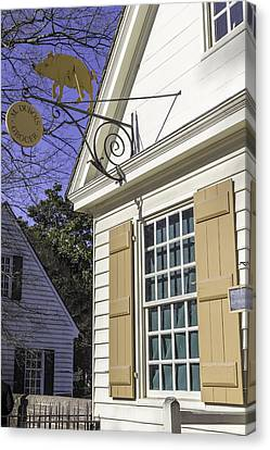 M Dubois Grocer Colonial Williamsburg Virginia Canvas Print by Teresa Mucha