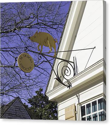 M Dubois Grocer Sign Squared Canvas Print by Teresa Mucha