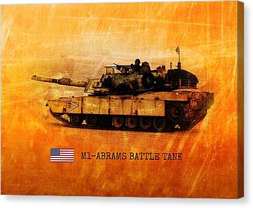 Canvas Print featuring the digital art M1 Abrams Battle Tank by John Wills