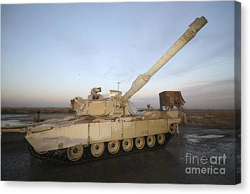 M1 Abrams Tank At Camp Warhorse Canvas Print by Terry Moore