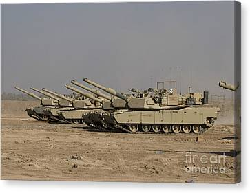 Iraq Canvas Print - M1 Abrams Tanks At Camp Warhorse by Terry Moore