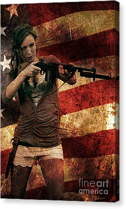 M1 Carbine On American Flag Canvas Print