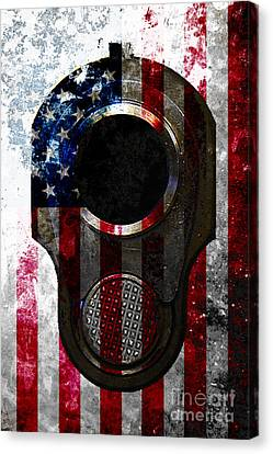 M1911 Colt 45 Muzzle And American Flag On Distressed Metal Sheet Canvas Print