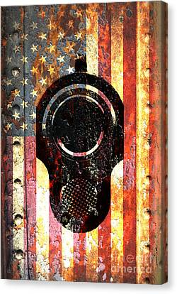 M1911 Colt 45 On Rusted American Flag Canvas Print