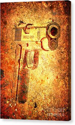 M1911 Muzzle On Rusted Background 3/4 View Canvas Print
