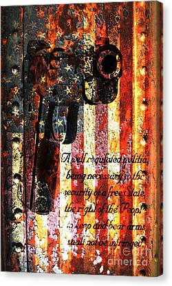 M1911 Pistol And Second Amendment On Rusted American Flag Canvas Print