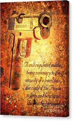 M1911 Pistol And Second Amendment On Rusted Overlay Canvas Print