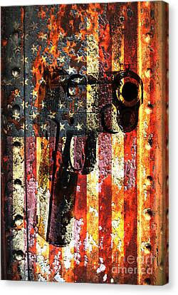 M1911 Silhouette On Rusted American Flag Canvas Print