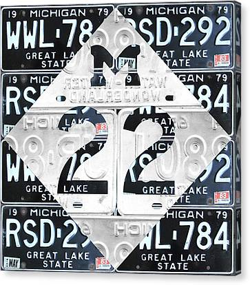 M22 Michigan Highway Symbol Recycled Vintage Great Lakes State License Plate Logo Art Canvas Print by Design Turnpike