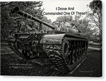 M48 Patton Tank Front View Custom Text Canvas Print by Thomas Woolworth
