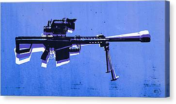 M82 Sniper Rifle On Blue Canvas Print by Michael Tompsett