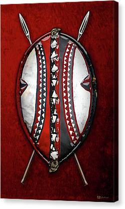 Maasai War Shield With Spears On Red Velvet  Canvas Print