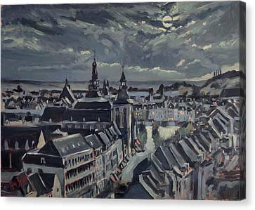 Maastricht By Moon Light Canvas Print by Nop Briex