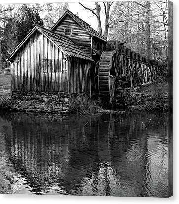 Mabry Mill In Black And White 1x1 - Virginia Canvas Print by Gregory Ballos