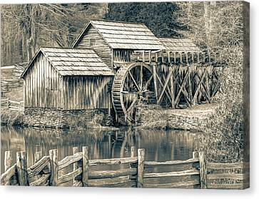 Old Mills Canvas Print - Mabry Mill In Black And White by Gregory Ballos