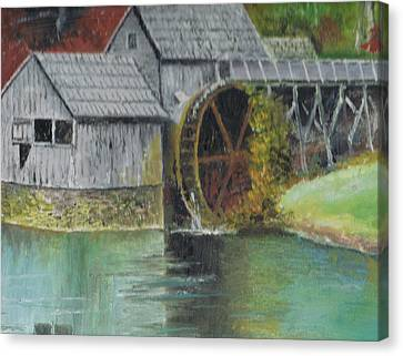 Mabry Mill In Virginia Usa Close Up View Of Painting Canvas Print by Anne-Elizabeth Whiteway