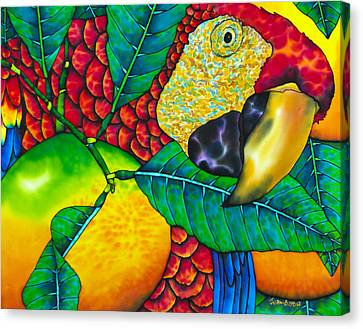 Macaw Close Up - Exotic Bird Canvas Print by Daniel Jean-Baptiste