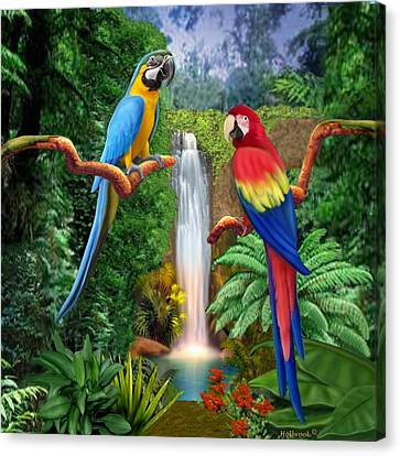 Macaw Tropical Parrots Canvas Print by Glenn Holbrook