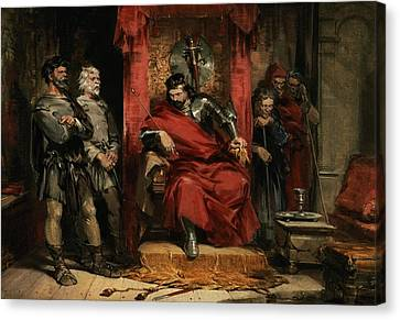 Greed Canvas Print - Macbeth Instructing The Murderers Employed To Kill Banquo by George Cattermole