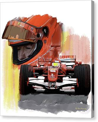 Canvas Print featuring the painting Macher  Michael Schumacher by Iconic Images Art Gallery David Pucciarelli
