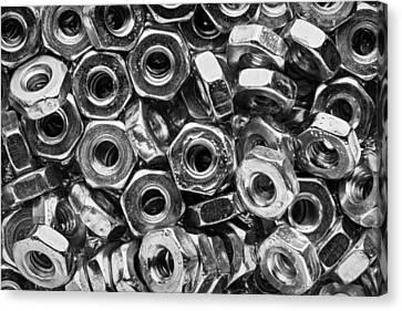 Machine Screw Nuts Macro Horizontal Canvas Print by Steve Gadomski