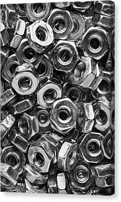 Machine Screw Nuts Macro Vertical Canvas Print by Steve Gadomski