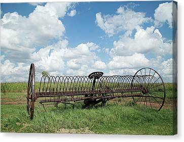 Machinery And Sky Canvas Print by Gina Zhidov