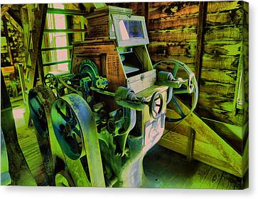 Machinery In An Old Grist Mill Canvas Print by Jeff Swan