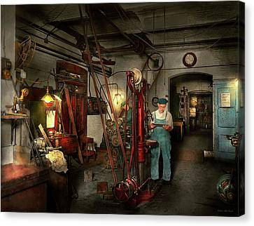Canvas Print featuring the photograph Machinist - Government Approved 1919 by Mike Savad