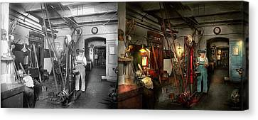 Canvas Print featuring the photograph Machinist - Government Approved 1919 - Side By Side by Mike Savad