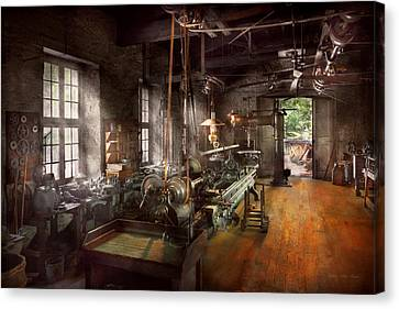 Tool Maker Canvas Print - Machinist - Lathe - A Long Lathe by Mike Savad
