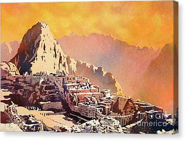 Canvas Print featuring the painting Machu Picchu Sunset by Ryan Fox