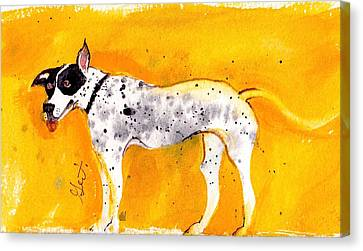 Mack The Pit/dalmatian Canvas Print by Gertrude Palmer