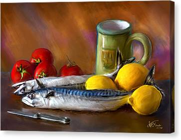 Canvas Print featuring the photograph Mackerels, Lemons And Tomatoes by Juan Carlos Ferro Duque