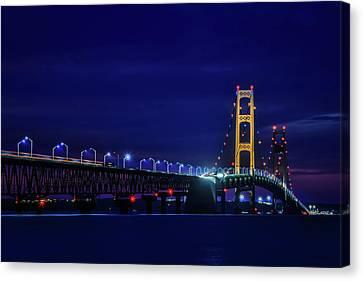 Mackinac Bridge Lights At Night Canvas Print