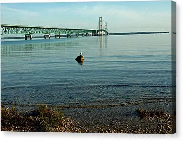 Canvas Print featuring the photograph Mackinac Bridge Michigan by LeeAnn McLaneGoetz McLaneGoetzStudioLLCcom