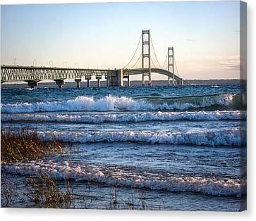 Canvas Print featuring the photograph Mackinac Bridge Michigan by Mary Lee Dereske