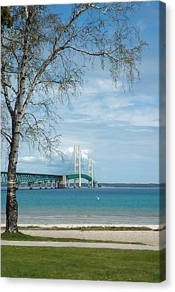 Canvas Print featuring the photograph Mackinac Bridge Park by LeeAnn McLaneGoetz McLaneGoetzStudioLLCcom