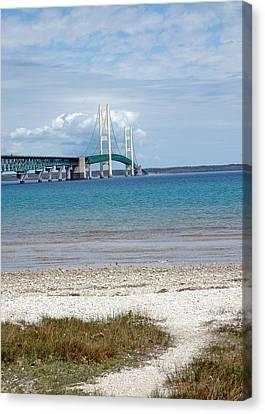 Canvas Print featuring the photograph Mackinac Bridge Path To Lake by LeeAnn McLaneGoetz McLaneGoetzStudioLLCcom