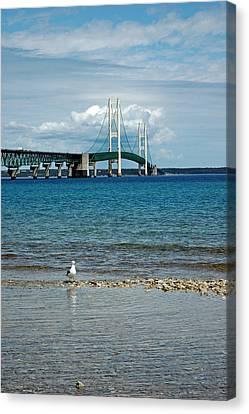 Canvas Print featuring the photograph Mackinac Bridge Private Seagull Beach by LeeAnn McLaneGoetz McLaneGoetzStudioLLCcom