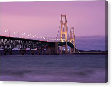Mackinac Bridge Sunset Canvas Print by James Marvin Phelps