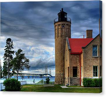 Mackinaw Bridge And Lighthouse Canvas Print by Coby Cooper