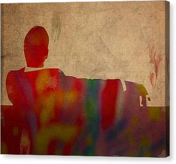 Mad Men Watercolor Silhouette Painting On Worn Parchment No 3 Canvas Print by Design Turnpike