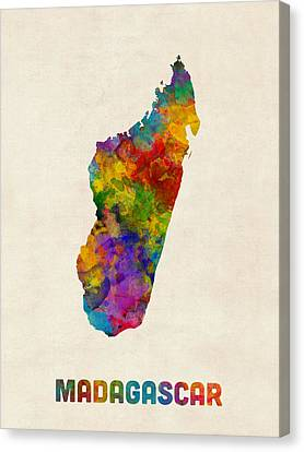 Madagascar Watercolor Map Canvas Print by Michael Tompsett