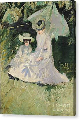 Madame Helleu And Her Daughter At The Chateau Of Boudran Canvas Print by Paul Cesar Helleu