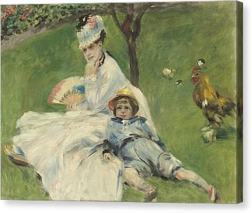 Chin On Hand Canvas Print - Madame Monet And Her Son by Pierre Auguste Renoir