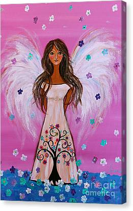 Canvas Print featuring the painting Pink Angel Of Life by Pristine Cartera Turkus