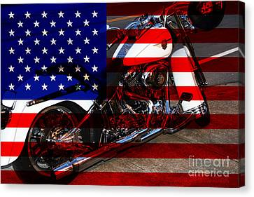 Canvas Print featuring the photograph Made In The Usa . Harley-davidson . 7d12757 by Wingsdomain Art and Photography