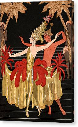 Mademoiselle Sorel At The Grand Prix Ball Canvas Print by Georges Barbier